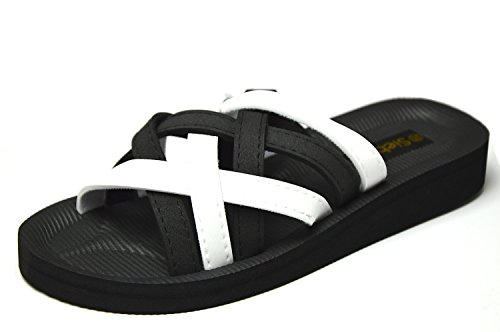 Siebi`s Beach Black/White Bade- und Duschpantolette schwarz/weiß (37, Schwarz- Weiß)