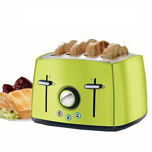 Ashey Tostadora automática para el hogar, tostadora de Acero Inoxidable Multifuncional con 4 Ranuras y tostadora, con Manual en inglés