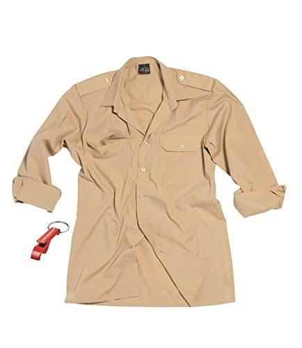 AOS-Outdoor Safarihemd Tropenhemd glatt Khaki Langarm Diensthemd/S Schlüsselanhänger
