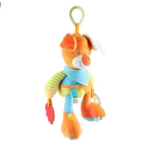 Juguete de felpa, juguete para colgar en la cama de papel con sonido de tela, función de masaje de campana para bebés de 0 a 3 años en el hogar para bebés(Colorful bear)