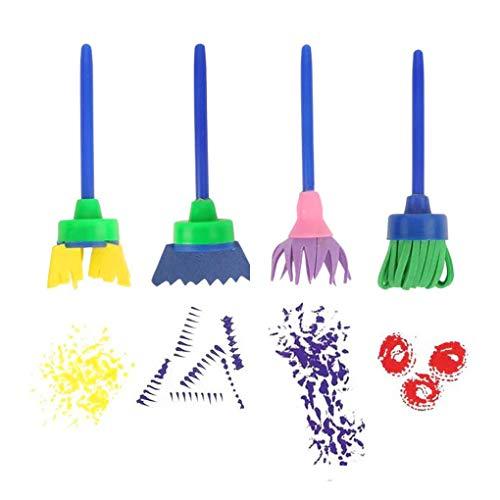 4 stuks bloem borstel draaien Sponge kinderen Graffiti Art tekenmateriaal roterend schilderen speelgoed School Stationery