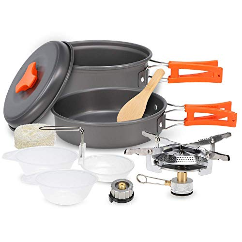 Best Review Of Lzpff Camping Cookware Set Portable Cooking Set with Stove for 2-3 People Outdoor Tra...