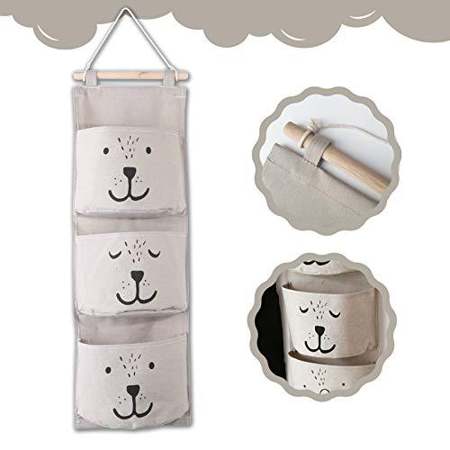 ETHEL Wand Hängen Tasche Hängender Organizer mit 3 Taschen Badezimmer Hängende Tasche Hängeaufbewahrung Aufbewahrungstasche für Kinderzimmer Badezimmer Schlafzimmer Büro (Grau)