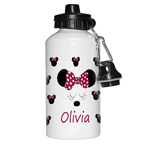 tigerlilyprints Minnie Mouse Bottle,Personalised Drinks Bottle,Flowers Bottle, Girls Gifts, School Water Bottle, Lunch Bag Bottles.