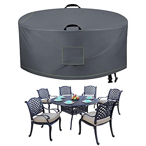 TAOCOCO Juego de fundas para muebles patio al aire libre, 600D impermeables sillas mesa, cubierta antidecoloración mesa redonda, juego comedor, resistente, duradero, 72 pulgadas DIAx27.5 H, gris