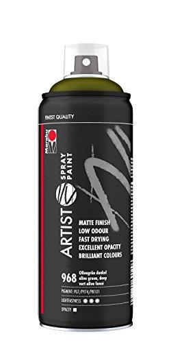 Marabu 21100018968 - Artist Spray Paint olivgrün dunkel, hochwertige Künstlersprühfarbe auf Wasserbasis, hoch pigmentiert, lichtecht, hohe Farbbrillanz, für viele Untergründe geeignet, 400 ml