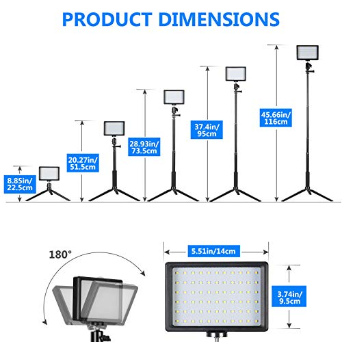 Neewer 2 Packs Verbessertes LED Videolicht mit 433Hz Fernbedienungsset - Dimmbares 5600K USB Videolicht mit Stativständer/Farbfiltern für Tisch/neidrige Winkelaufnahmen, YouTube Porträtfotografie
