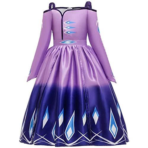 SONG Vestido de Princesa para niñas, Vestido de Fiesta de cumpleaños con Estampado de Hombros Descubiertos de Reina de Las Nieves