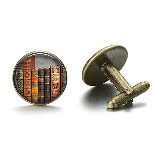 Vsco Manschettenknöpfe, Vintage-Bibliotheksbücher, Nerd-Manschettenknöpfe im nostalgischen Stil, bedruckt, Glas, runde Manschettenknöpfe für Herren