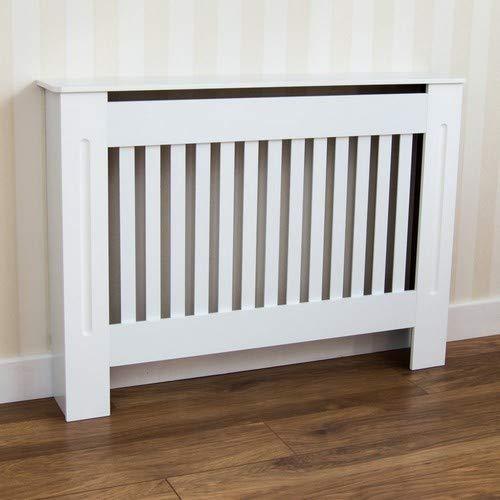 Home Discount Cubre radiador Chelsea, diseño de Moderno con Lamas de DM Pintado de Color Blanco