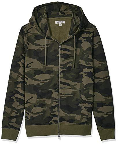 Amazon Brand - Goodthreads Men's Fullzip Fleece Hoodie, Green Camo, Large