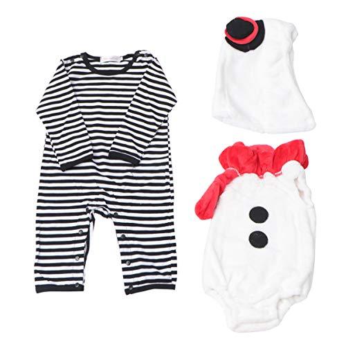 ABOOFAN Traje de Muñeco de Nieve para Niños Traje de Olaf Pijamas para Niños Cosplay de Una Pieza de Felpa para Bebés Niños Pequeños 3 Unids/Set 12-18 Meses
