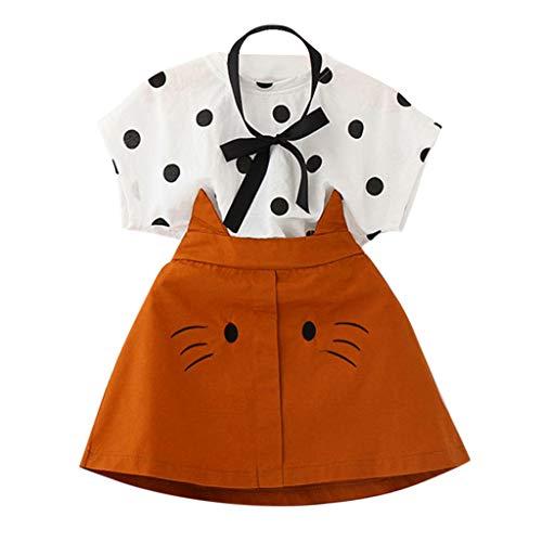 LEXUPE Kleinkind Kind Baby Mädchen Outfits Kleidung Dot Print T-Shirt + Katze Stickerei Rock Set(Weiß,120)