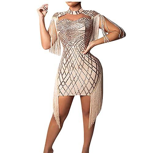 AMhomely Vestido de verano para mujer con flecos y borla, sin mangas, para fiesta, elegante, para playa, casual, vestido