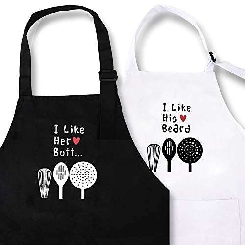 I Like His Beard I Like Her Butt Heart Design Aprons Wedding Gifts for Couples His and Hers Kitchen Cooking Bibs Engagement Anniversary Presents for Parents Aprons