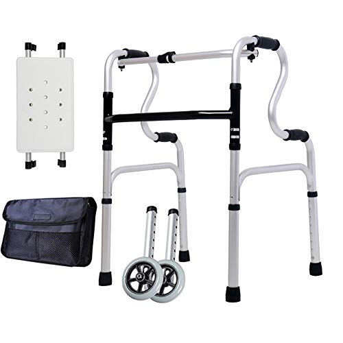 Bseack Andador con Ruedas Andador para Adultos, Andador Plegable para Personas Mayores con Ruedas Caminador Compacto con Altura Ajustable: 28.8-37.2 in (Color : Accessories Included)