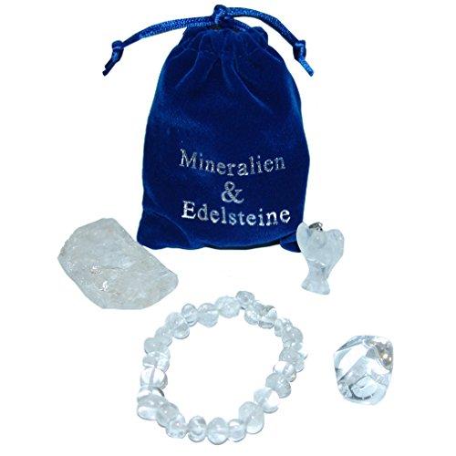 Preisvergleich Produktbild Bergkristall Geschenk Set 4 teilig je 1x Armband / Engel Anhänger / Rohstein / Trommelstein in schwarzem Samtbeutel