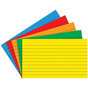 Top Notch Teacher Products TOP3662 Index Cards Lined Assorted Primary Colors 3  x 5  Pack of 75