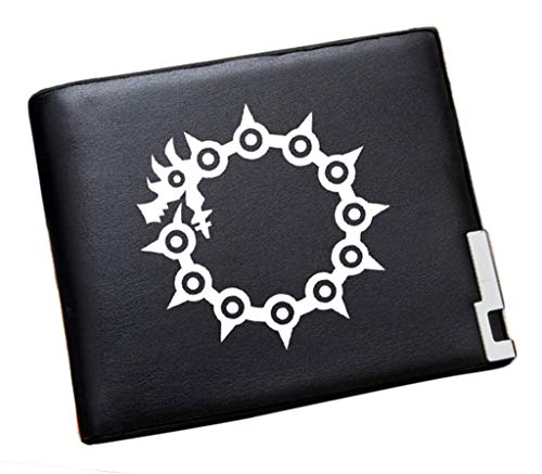 WANHONGYUE The Seven Deadly Sins Anime Portafoglio Uomo Pelle Sintetica Sottile Portamonete Piccolo Borsellino Slim Wallet Nero /8