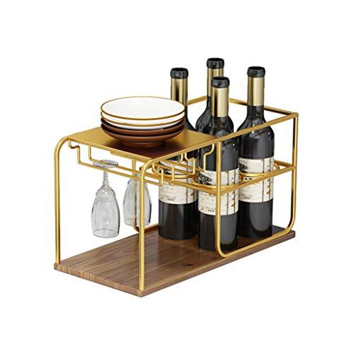 Botellero Estante para vinos Independiente con Metal mostrador de Madera Capacidad de Almacenamiento de estantes para Almacenamiento de Vino 4 Botellas de Vino y Vidrio de Mango larg