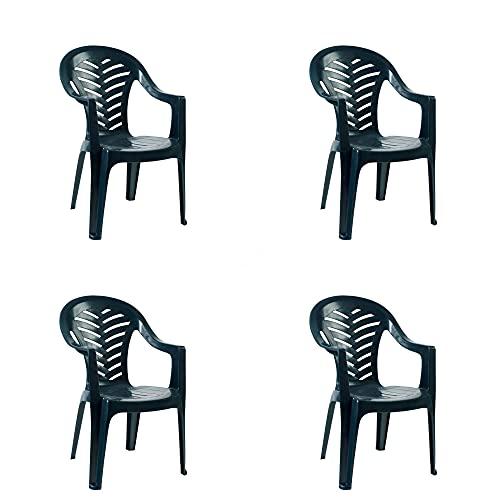 RESOL Palma Set 4 Sillones de Jardín Apilables   Terraza, Patio, Exterior, Comedor, Balcón   Cómodo, Ligero y Resistente   Diseño Moderno y Funcional   con Reposabrazos - Color Verde Oscuro