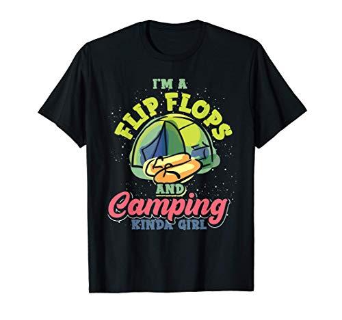 Outdoor Camper Natur Lustiges Flip Flops Camping Mädchen T-Shirt