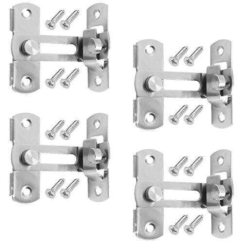 4 Pack 90 Degree Right Angle Door Lock Buckle Security Door Lock Bolt, OrdLive Stainless Steel Gate Latch for for Door Window Closet Barn Door Lock