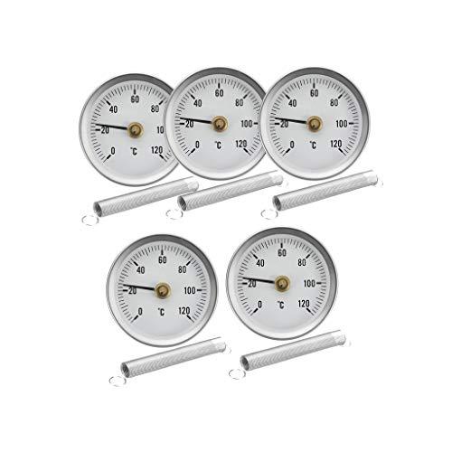 5 x Thermometer Zeigerthermometer Clip, Analog und Bimetall, Bereich: 0-120 ℃