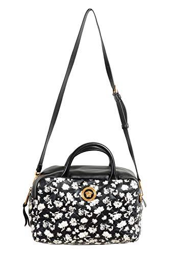 Bolsa feminina Versace Midnight Bloom grande de couro acolchoado