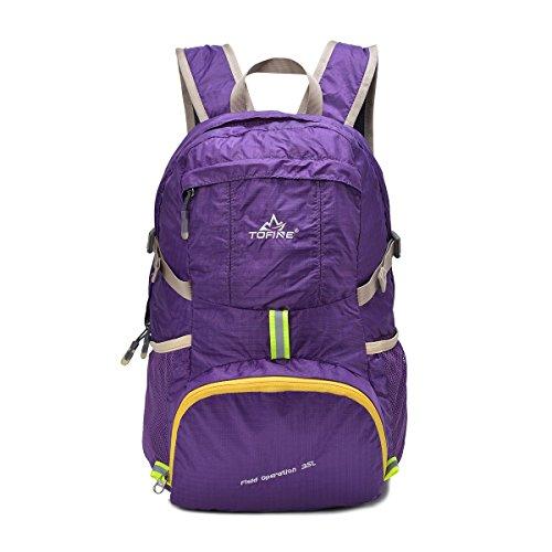 TOFINE Portable Travel Foldable Waterproof Backpack Hiking Gear 35L Purple