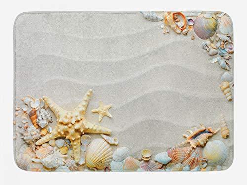 Ambesonne Starfish Bath Mat, Seacoast with Sand with Colorful Various Seashells Tropics Aquatic Wildlife Theme, Plush Bathroom Decor Mat with Non Slip Backing, 29.5' X 17.5', White Coral