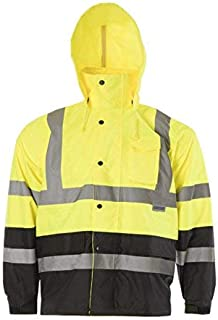 JORESTECH High Visibility Light Weight Waterproof Rain Jacket ANSI/ISEA 107-2015 Class 3 Level 2 Yellow/Black JK-03-YLBK (XL)