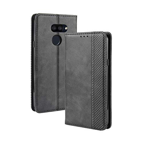 LAGUI Kompatible für LG K40S Hülle, Leder Flip Hülle Schutzhülle für Handy mit Kartenfach Stand & Magnet Funktion als Brieftasche, schwarz