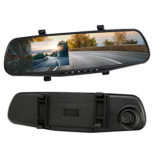 Streetwize Rearview Mirror HD Dash Cam, Easily Fits Over Your Rearview Mirror, Built-In Microphone (SWREC10)