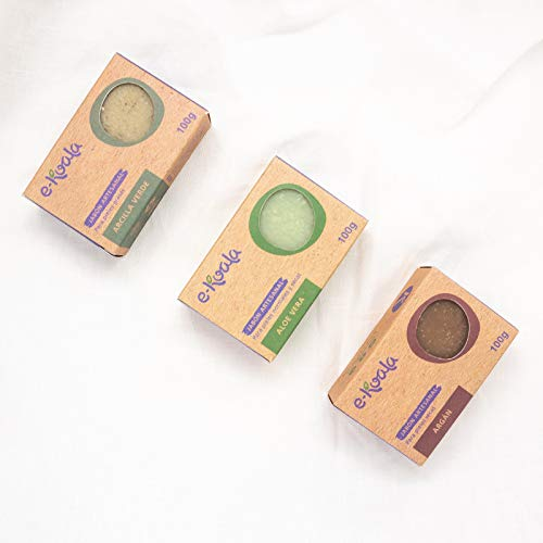 Jabones Artesanales | Pack de 3 jabones artesanales | Arcilla Verde, Aloe Vera y Argán | Base de aceito de coco |100gr por jabón| Hechos a mano |