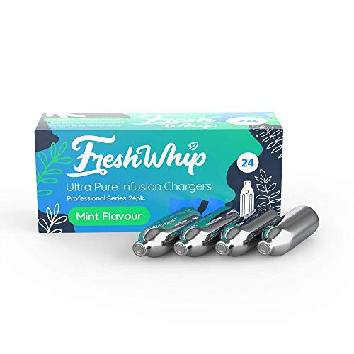 FreshWhip Mint Infusion Whipped Cream Chargers 24 packs, 8.2 grams Pure Nitrous Oxide, N2O Cartridges for Whipped Cream Dispensers, Compatible with Standard Cream Dispensers