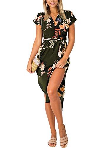 YOINS Vestido de verano largo para mujer, cuello en V, maxivestido para la playa Flores de color verde militar. XXL