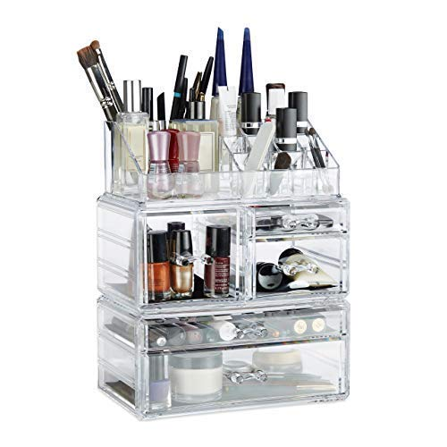 Relaxdays Make Up Organizer mit 21 Fächern, Kosmetik Tower für Lippenstift, Nagellack, Acryl Make Up Box, transparent