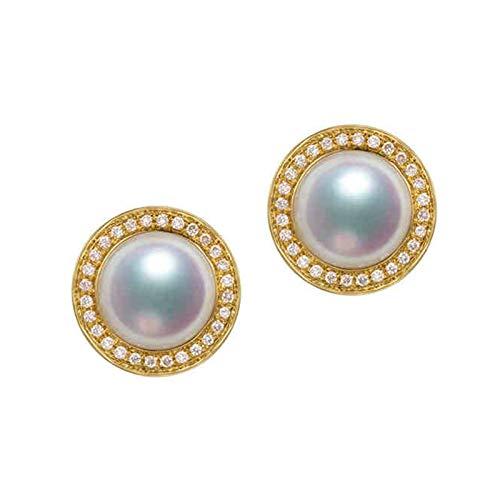 AMDXD Pendientes de oro amarillo de 18 quilates para mujer, 8 mm de perlas Akoya para mujer, pendientes de boda, regalos de cumpleaños para novias y mujeres