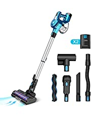 INSE Cordless Vacuum Cleaner with 2 Batteries, Up to 80min Run time, Stick Handheld Vacume Super Powerful Lightweight Quiet Rechargeable for Hardwood Floor Carpet Pet Hair Car Blue