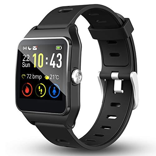 RaMokey Smartwatch Fitness Armbanduhr Pulsuhren IP68 wasserdicht Fitness Tracker GPS Sportuhr 17 Sportmodi Schlafmonitor Schrittzähler Aktivitätstracker Volle Touchscreen für Herren Damen Android iOS