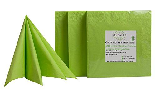 Sensalux Gastro-Servietten, 200 Stück, apfelgrün, 3-lagig 1/4-Falz 33 cm x 33 cm, hochwertige Servietten, ideal für Partys, Hochzeiten, Geburtstage