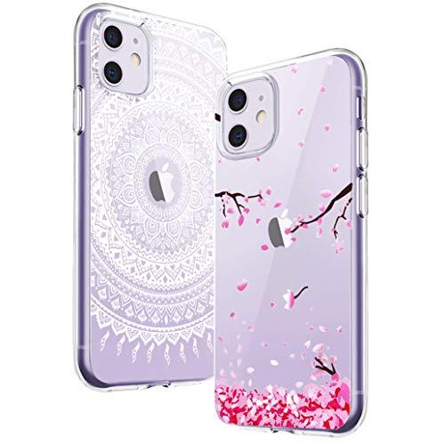 Yoowei [2-Pack] Funda para iPhone 11, Transparente con Dibujos Ultra Fino Suave TPU Silicona Protector Carcasa para iPhone 11 (Flores de Cerezo, Mandala Blanca)