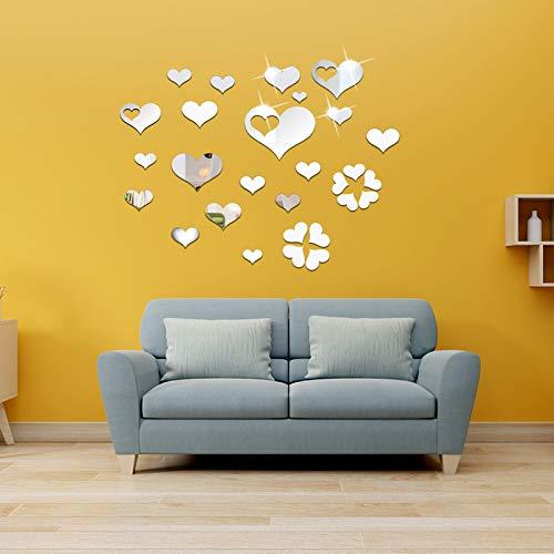 OOTSR 33Pz Adesivi Murali a Specchio Cuore, Specchio Adesivi Wall Art, Adesivi da Parete 3D Specchio, Decorazioni a Parete Adesive per Soggiorno Camer