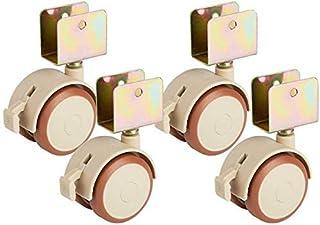 استبدال عجلات الخروع المكتبية (مجموعة من 4) عجلات دوارة 2 بوصة للأرضية الخشبية الصلبة، مع فرامل بدون ضوضاء، تستخدم في الأث...
