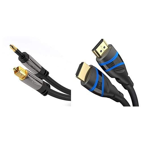 KabelDirekt 1,5m Cable Mini TOSLINK a Cable Óptico TOSLINK Dolby Digital normal, DTS, Conector Mini-TOSLINK Macho a Conector TOSLINK Macho PRO Series + 1,5m – 8K HDMI 2.1 Cable HDMI Ultra High Speed