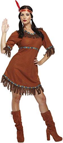 Emmas Wardrobe Frauen Native Indian Kostüm - Enthält American Indian Abendkleid und mit Federn versehene Stirnband - Pocahontas-Kostüm für Halloween - UK Größen 8-12 (Women: 34, Indian)