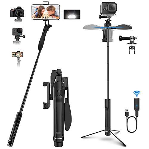 """ELEGIANT Selfie Stick Stativ,4-IN-1 Selfie Stange 360° drehbar mit Video-Balance-Griff+Bleutooth Fernbedienung+LED Licht Für Kamera/Handy bis 6.8"""" iPhone 11 Pro Max, XS Max Huawei P30 Samsung S10 usw"""