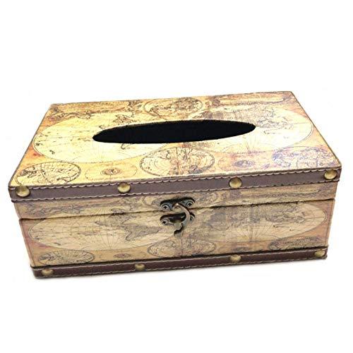 [Fumemo] ティッシュ ペーパー ボックス カバー ケース アンティーク レトロ ヴィンテージ 風 アメリカン 雑貨 木製 (地図)
