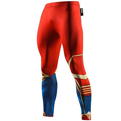 Nessfit - Mallas de compresión para hombre, largas, térmicas, diseño de superhéroe, para correr o hacer fitness Capitán Wonder Red - Pantalones XL